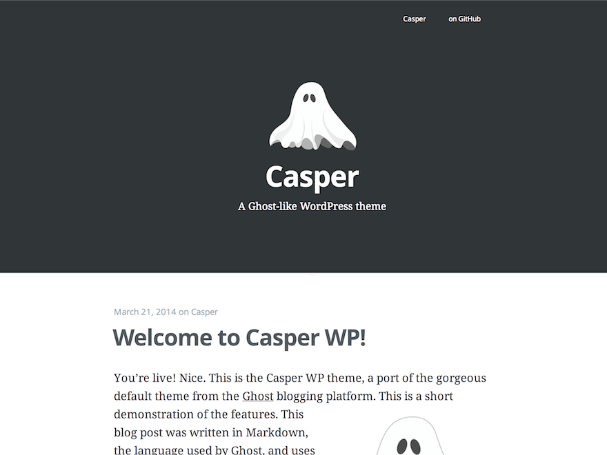 Casper free wordpress theme