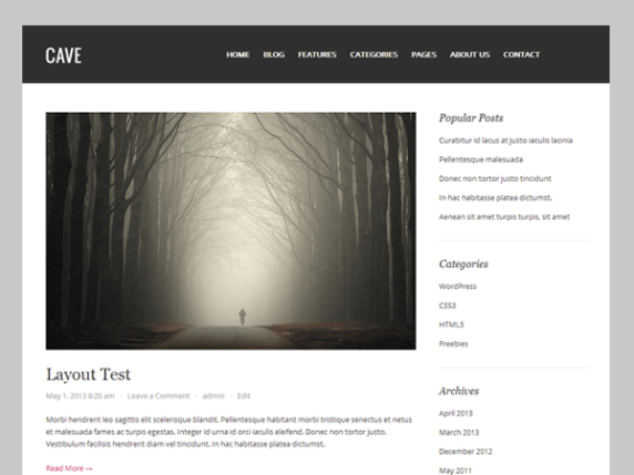 Cave wordpress theme