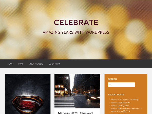 Celebrate free wordpress theme