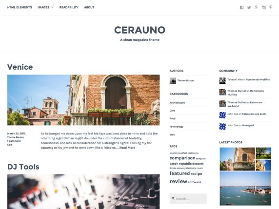 Cerauno wordpress theme