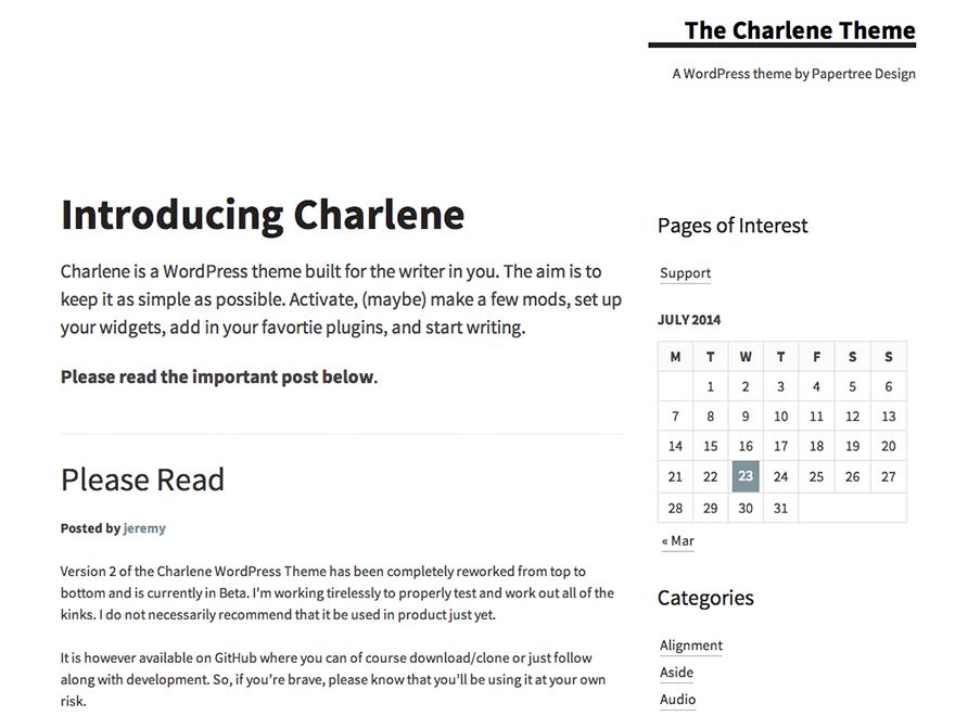 Charlene free wordpress theme
