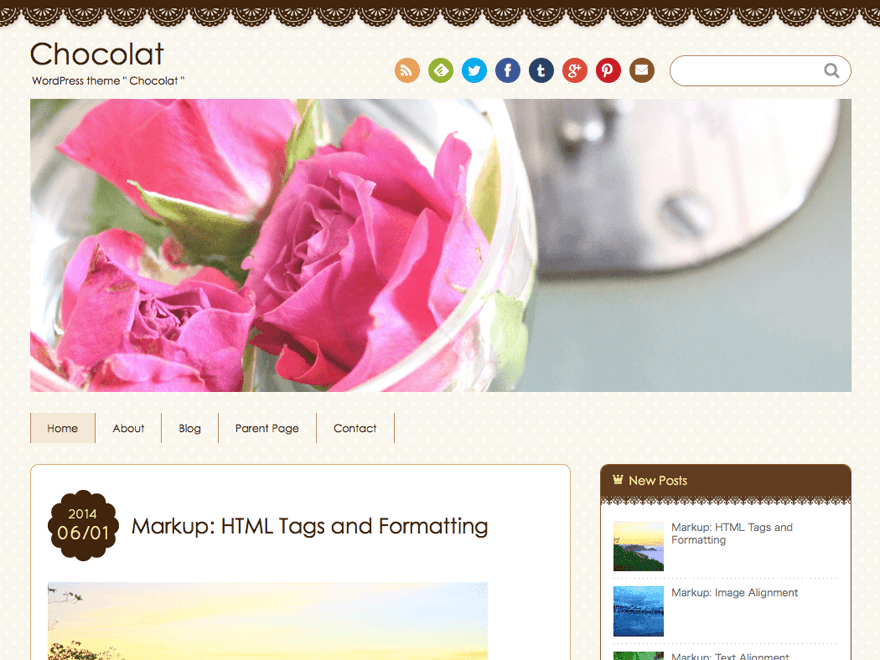 Chocolat free wordpress theme