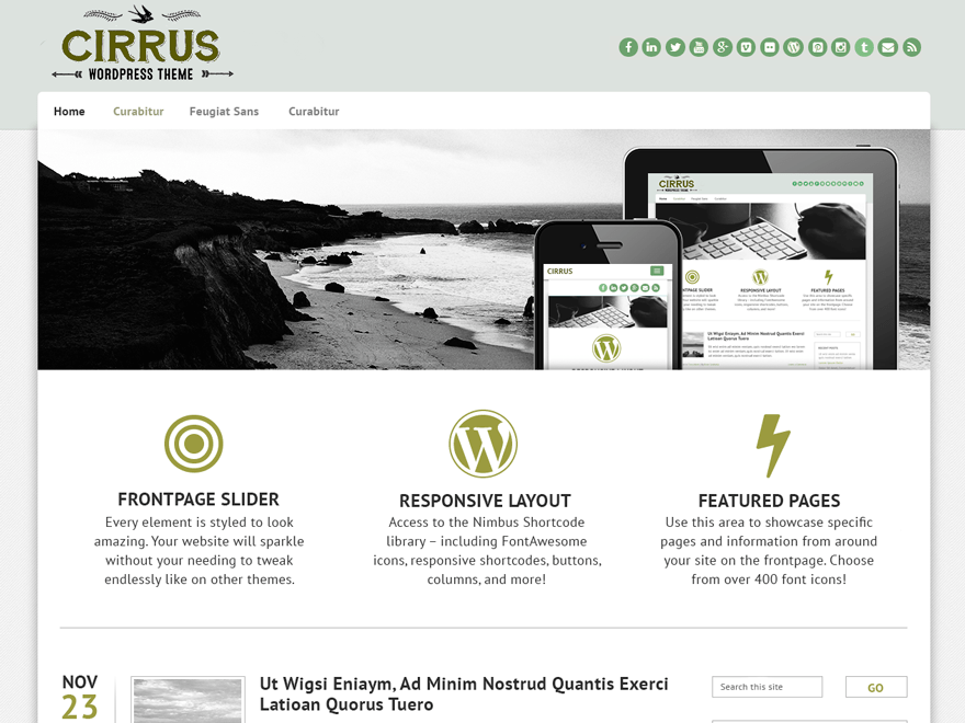 Cirrus free wordpress theme