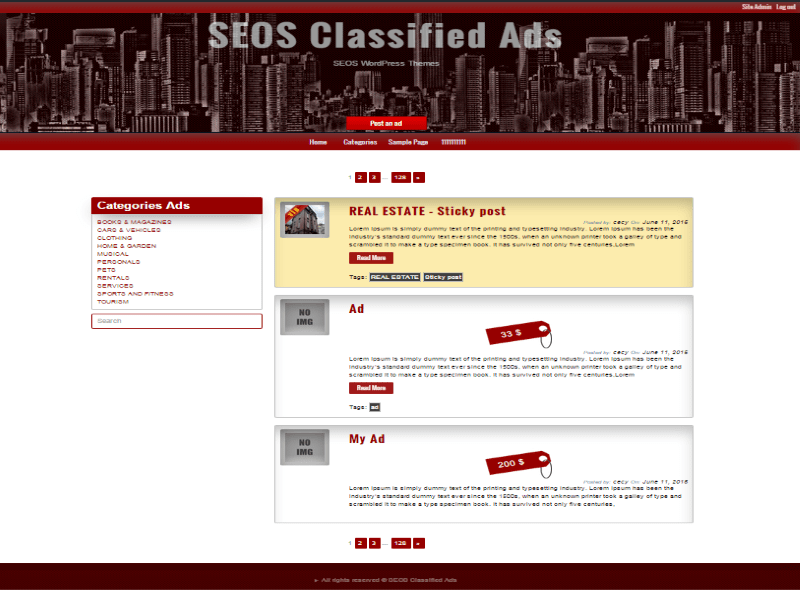 Classified Ads free wordpress theme