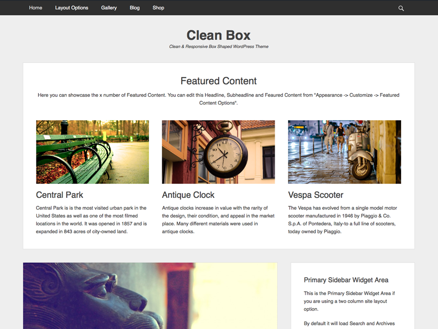 Clean Box free wordpress theme