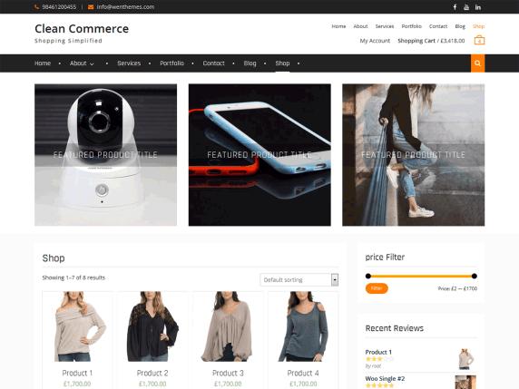 Clean Commerce eCommerce WordPress Theme