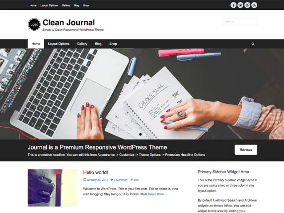 Clean Journal wordpress theme