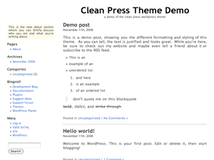 Clean Press free wordpress theme