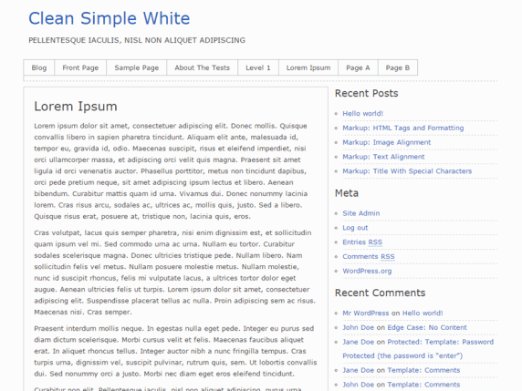 Clean Simple White wordpress theme