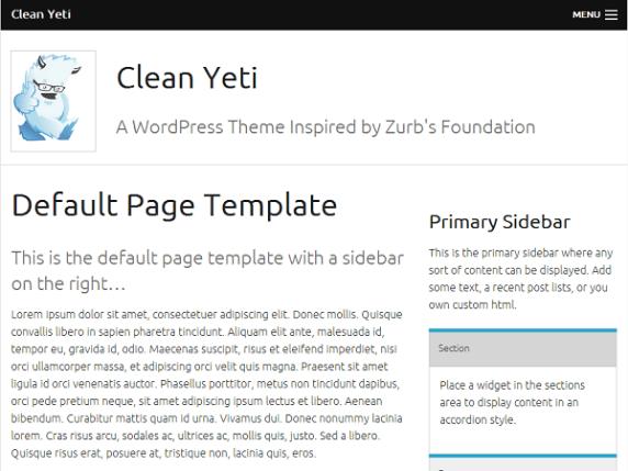 Clean Yeti Basic wordpress theme