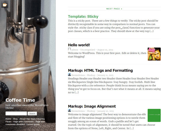 Coffee Time free wordpress theme