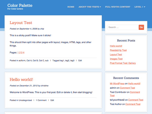 Color Palette free wordpress theme