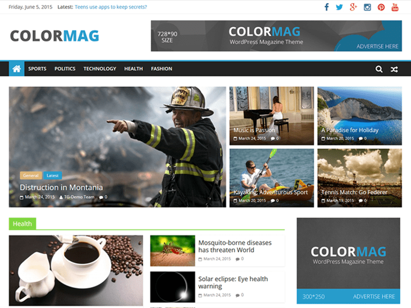 Wordpress šablona zdarma Colormag