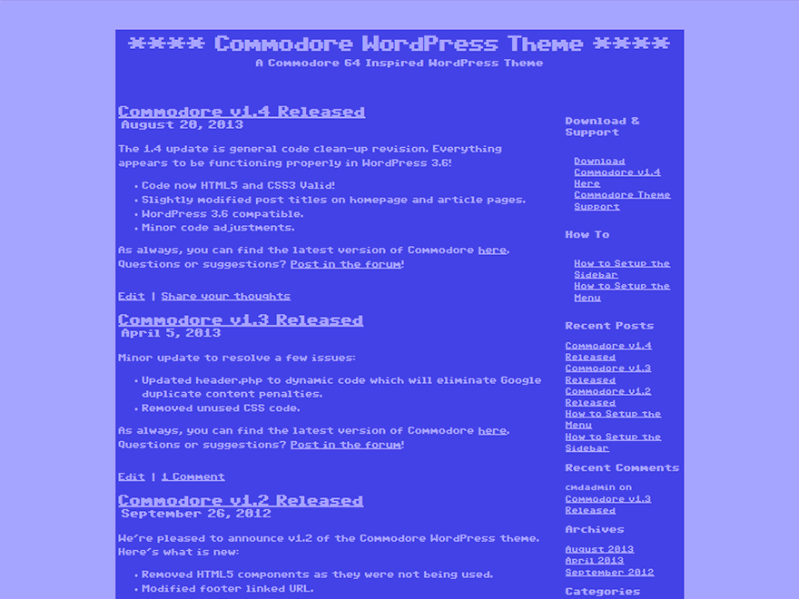 Commodore free wordpress theme