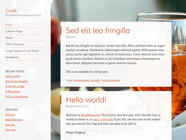 Confit free wordpress theme