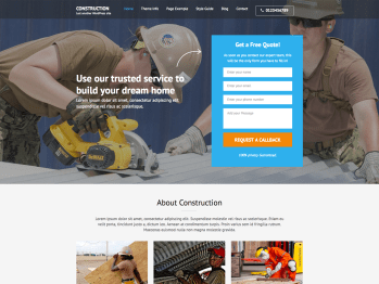 Construction Landing Page child theme