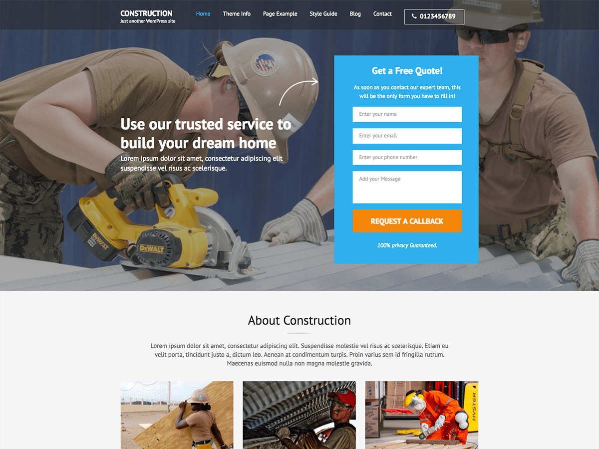 Construction Landing Page