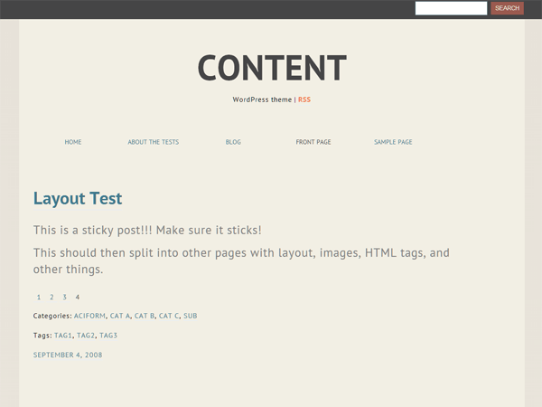Content free wordpress theme