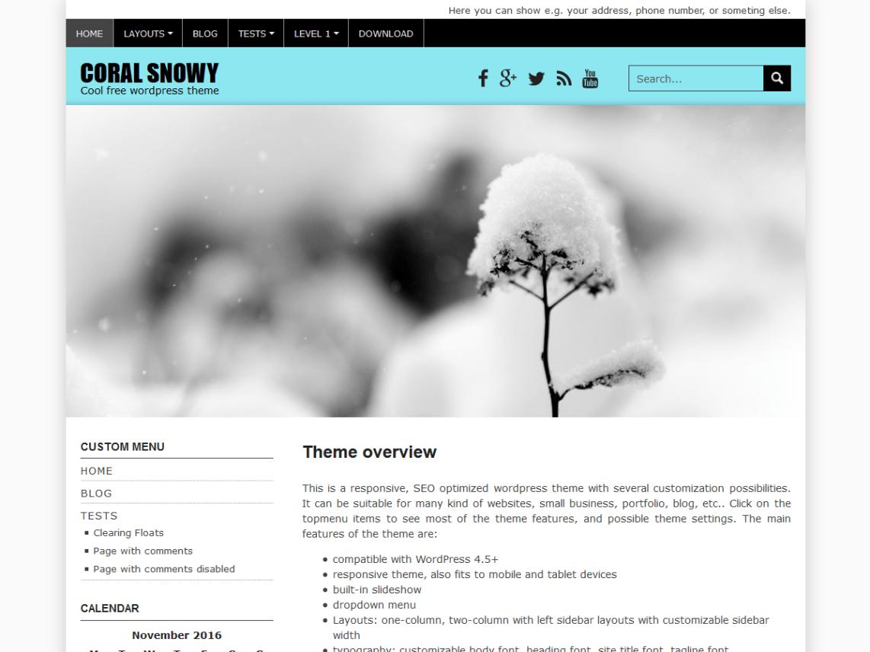 Coral Snowy — Free WordPress Themes