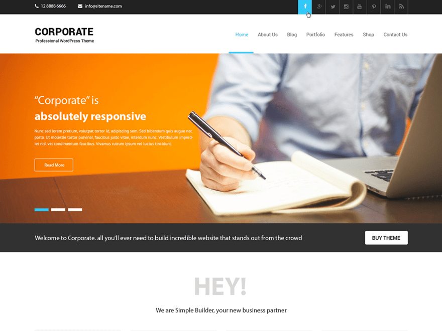 Corporate Lite free wordpress theme