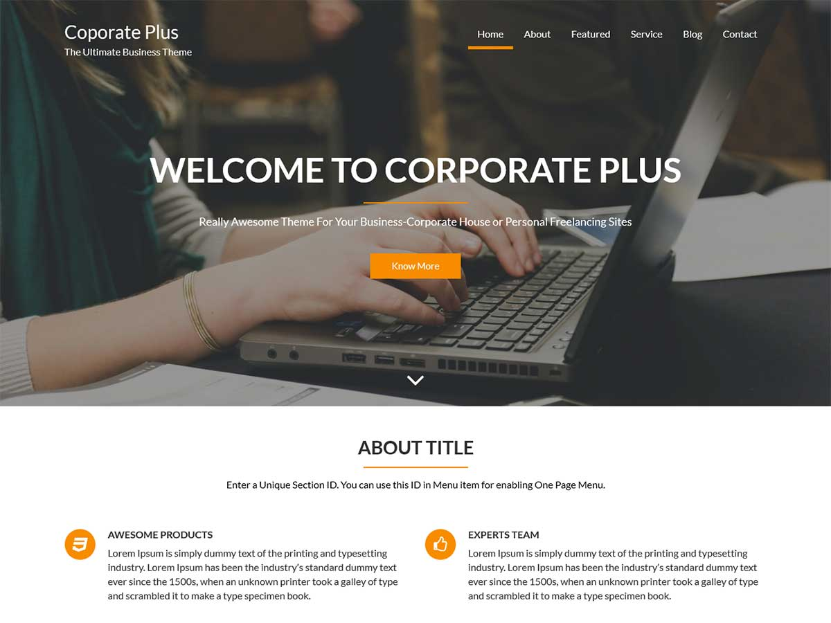 Corporate plus free wordpress theme