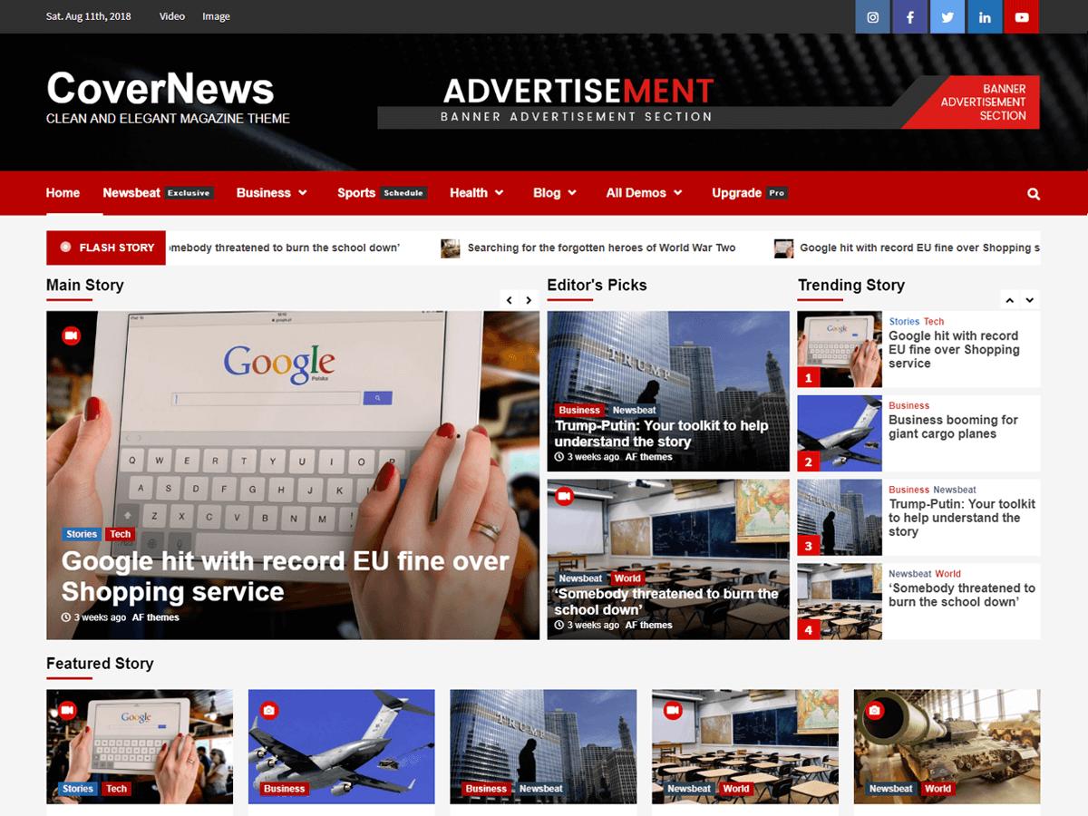 screenshot covernews wordpress themes