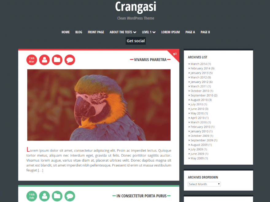 Crangasi free wordpress theme