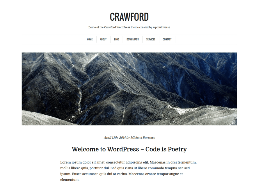 Crawford free wordpress theme