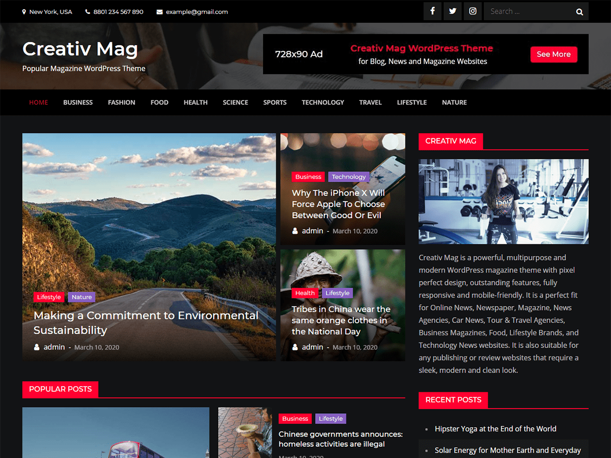Creativ Mag Magazine News WordPress Theme