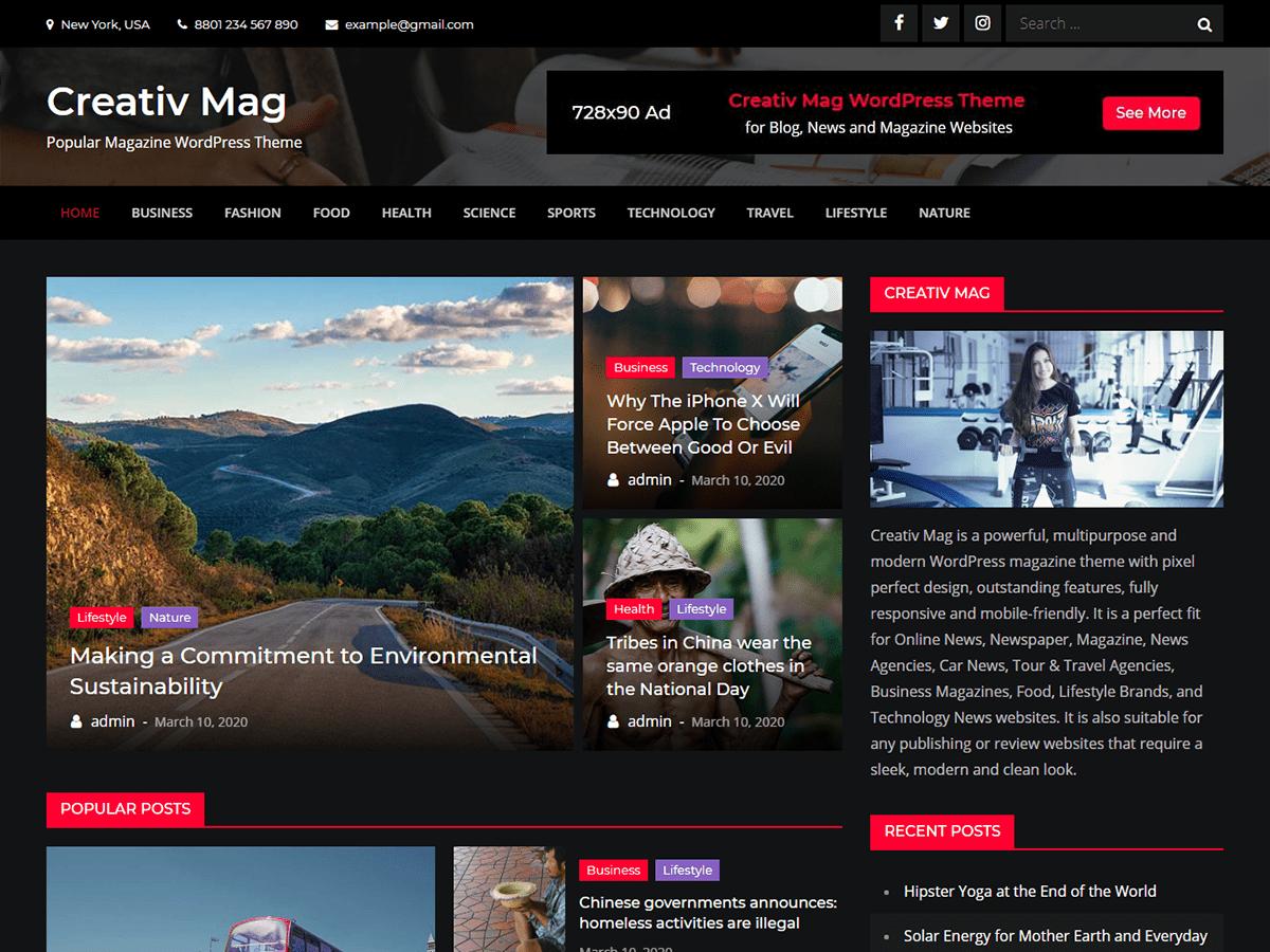 Creativ Mag Magazine News WordPress Theme