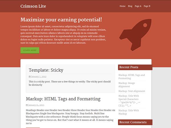 Crimson Lite theme wordpress gratuit
