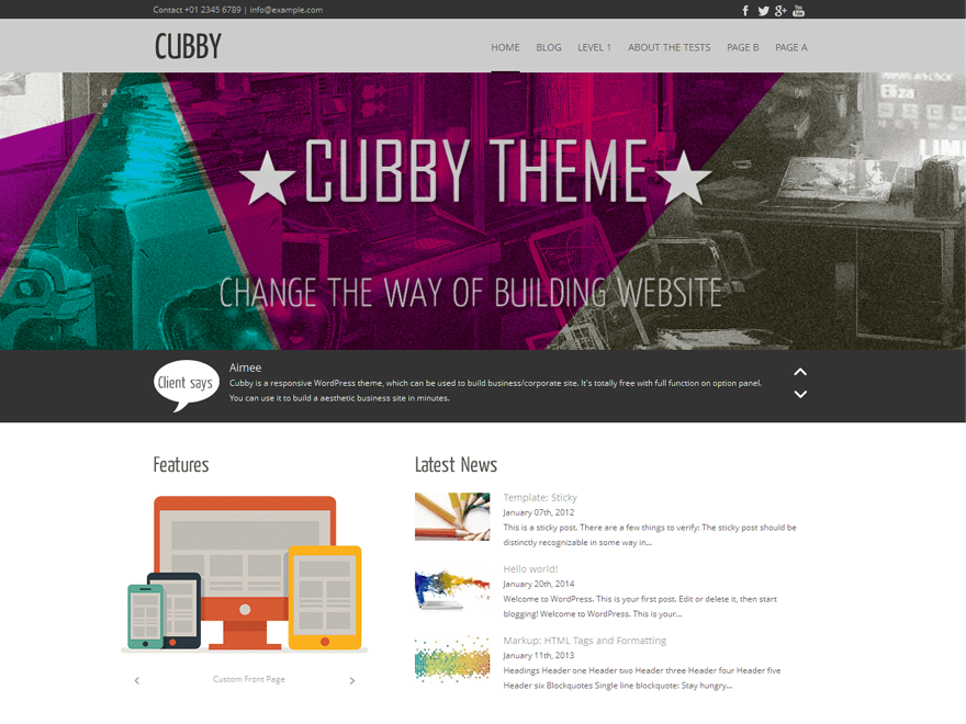 Cubby free wordpress theme