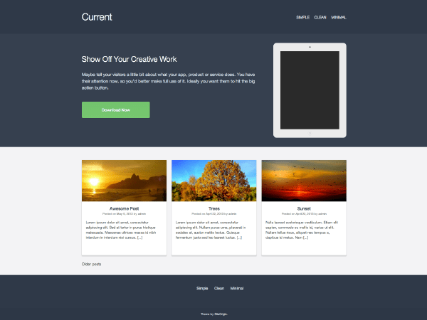 Current free wordpress theme