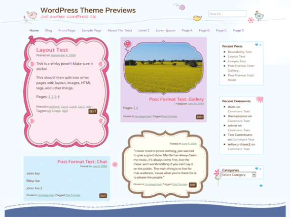 Cute Frames wordpress theme