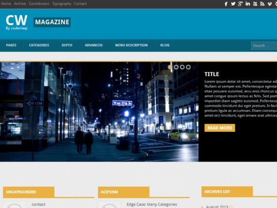CW Magazine wordpress theme