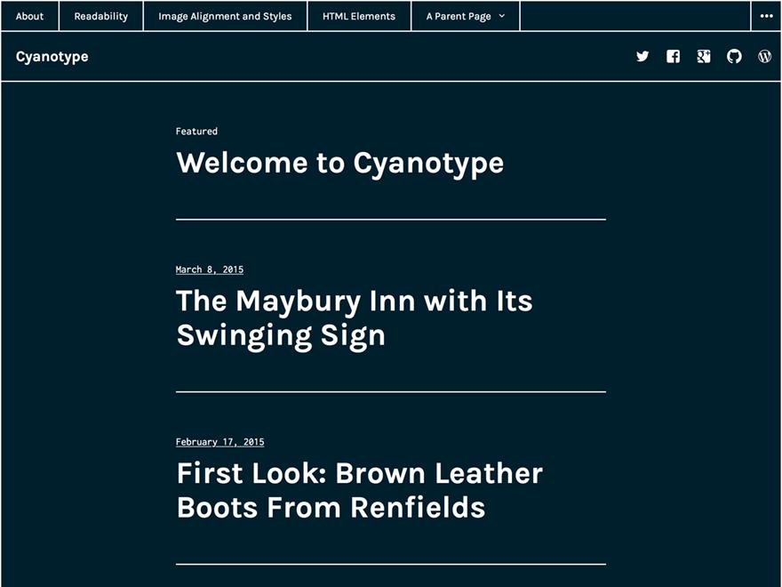 Cyanotype free wordpress theme