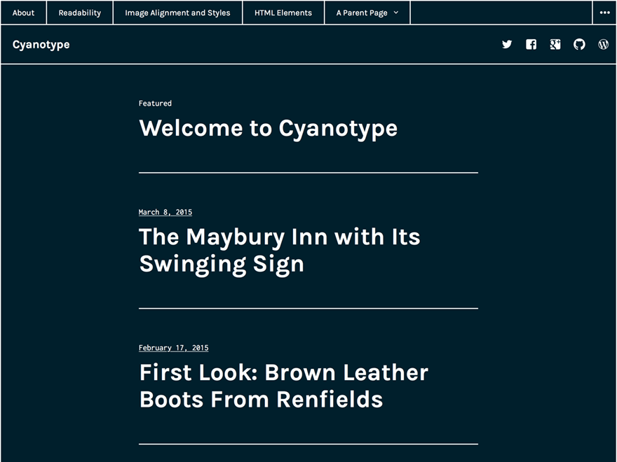 Cyanotype theme wordpress gratuit