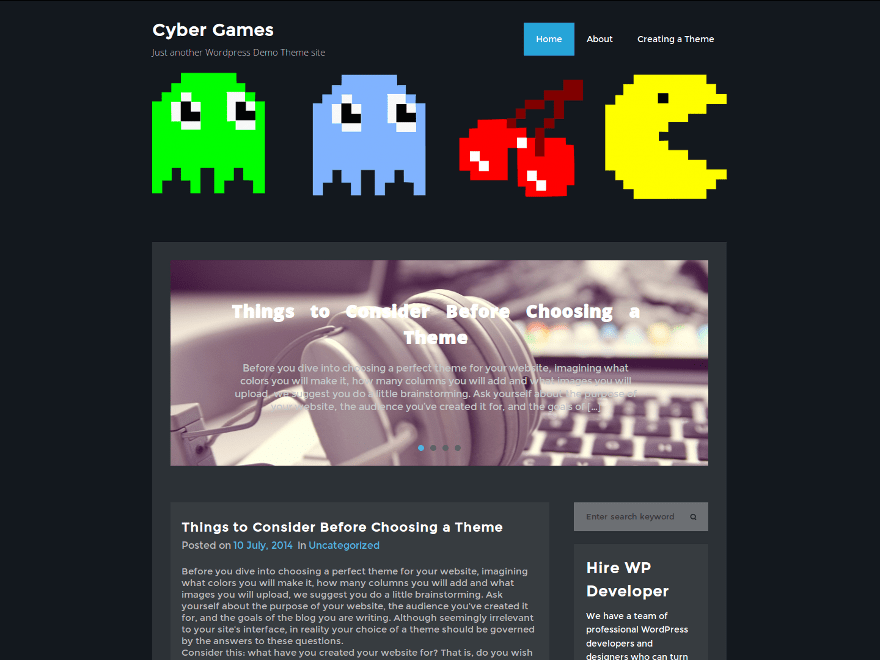 CyberGames free wordpress theme