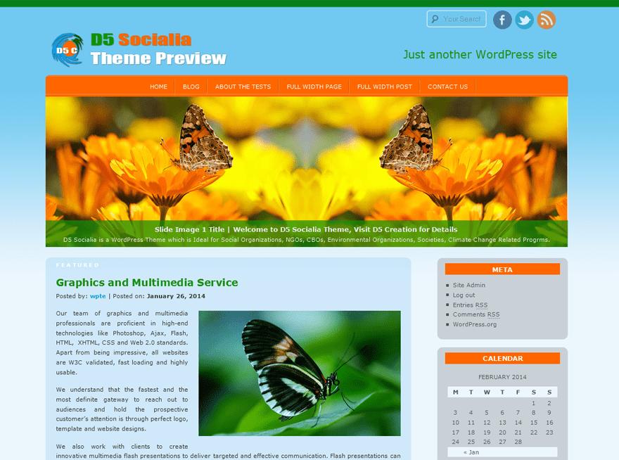 D5 Socialia free wordpress theme