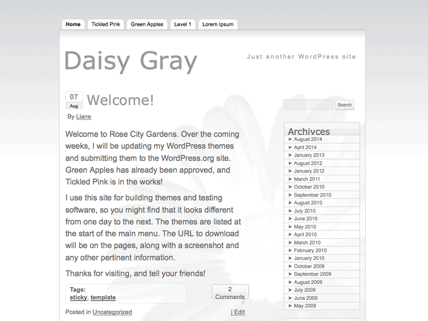Daisy Gray free wordpress theme