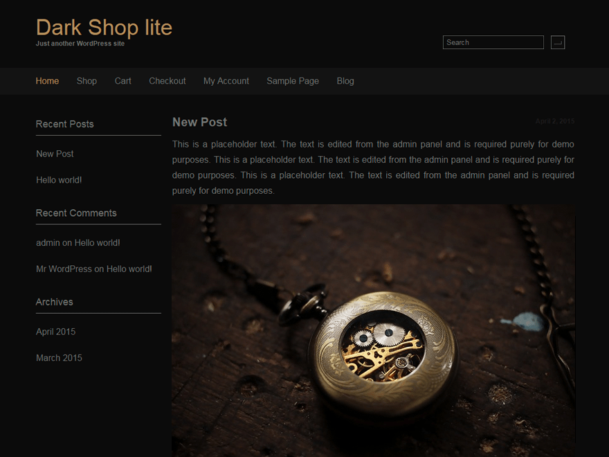 screenshot of dark shop lite free WooCommerce theme