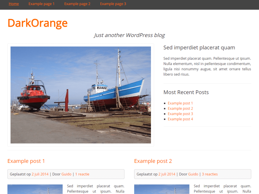 DarkOrange free wordpress theme