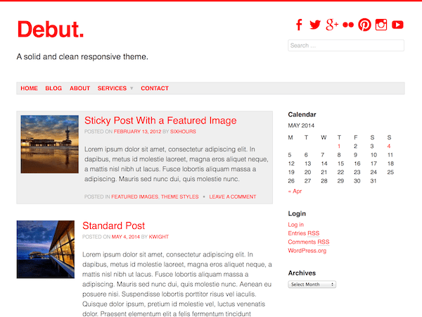 Debut free wordpress theme
