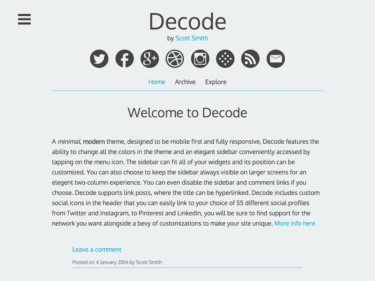 Decode free wordpress theme