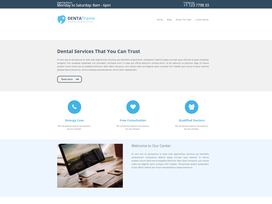 Denta Lite free wordpress theme