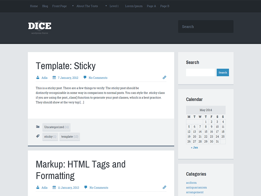Dice free wordpress theme