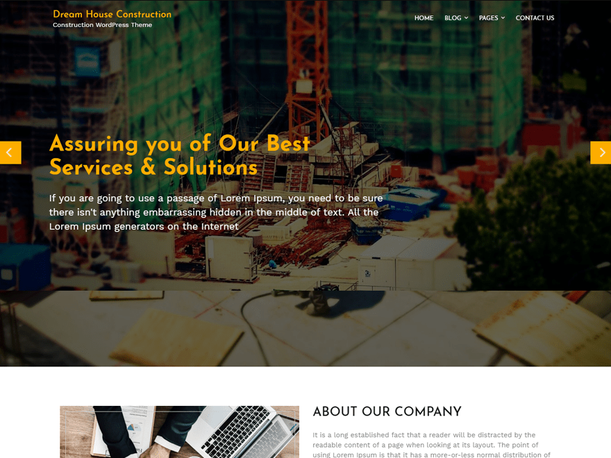 construction website templates wordpress