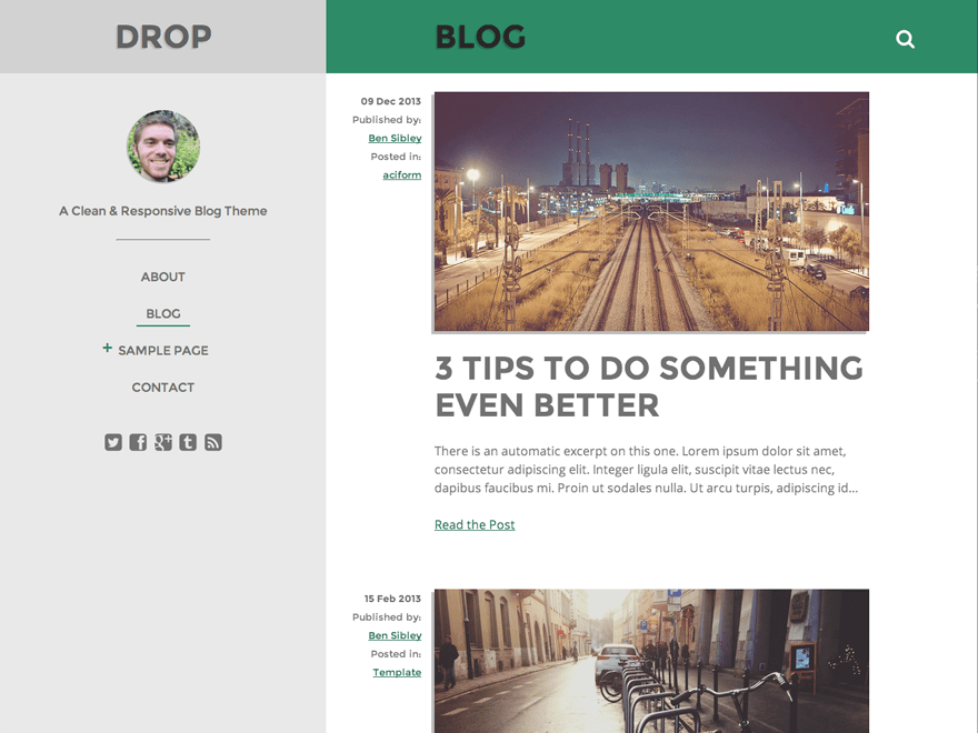 Drop free wordpress theme