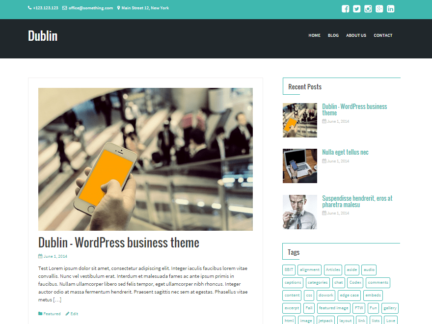 Dublin free wordpress theme