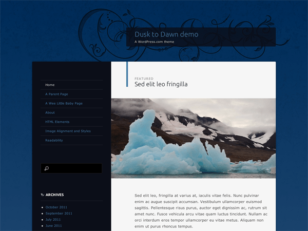 Dusk To Dawn free wordpress theme
